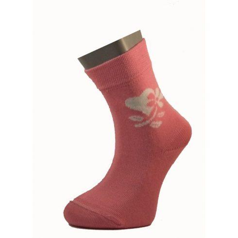Gyerek zokni - Rózsaszín - fehér szíves 29-30