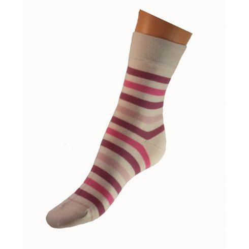 Gyerek zokni - Rózsaszín fehér csíkos 35-36