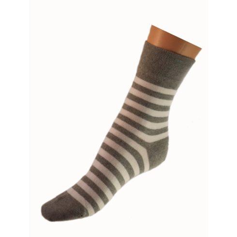 Gyerek zokni - Szürke- fehér csíkos 35-36